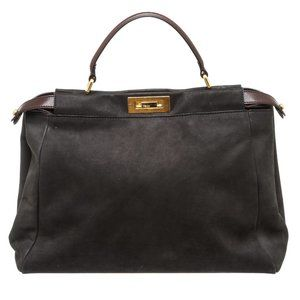 Fendi Black Nubuck Large Peekaboo Satchel Bag